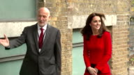 Exterior shots of Catherine Duchess of Cambridge arriving at the Anna Freud Centre meeting officials including Chief Executive Peter Fonagy on...