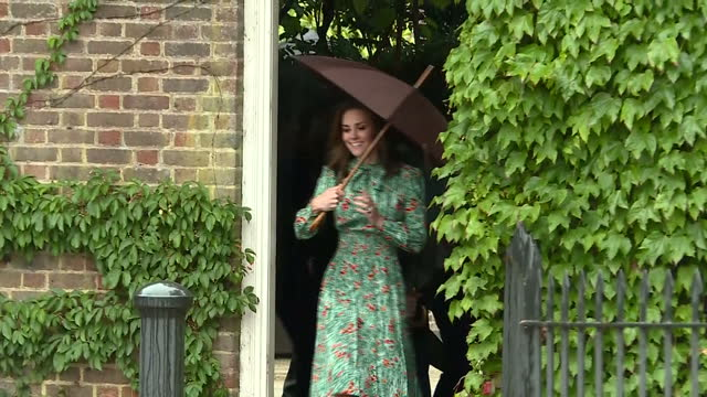 Exterior shots of Catherine Duchess of Cambridge Prince William Duke of Cambridge and Prince William Duke of Cambridge and Prince William walking...