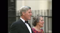 Exterior shots of Cecil Parkinson with Ann Parkinson chatting with Lord Lady Whitelaw before going into Number 10 Geoffrey Howe with Elspeth Howe...