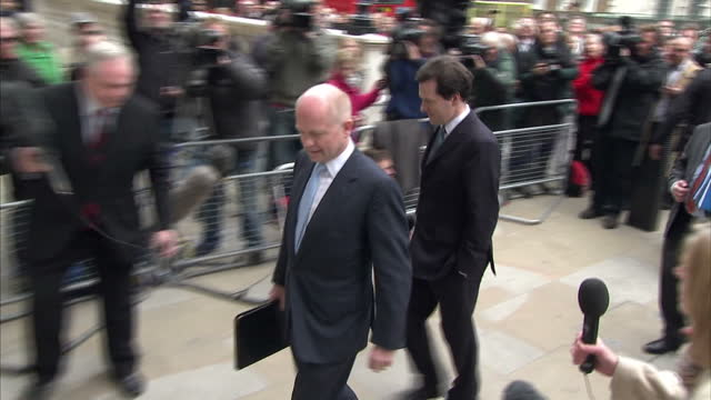 Exterior shots of Conservatives William Hague George Osborne and Oliver Letwin arriving at the Cabinet Office on May 10 2010 in London England