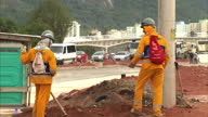 Exterior shots of construction workers on building site preparing for Rio Olympic Games 2016 on May 16 2016 in Rio de Janeiro Brazil