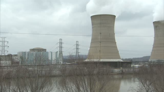 Exterior shots of cooling towers and reactor building of Three Mile Island nuclear facility on March 01 2011 in Middletown Pennsylvania