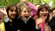 Exterior shots of Crowd cheering at premiere of Harry Potter and the Prisoner of Azkaban on May 30 2004 in London England