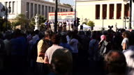 Exterior shots of crowds of protesters demonstrating in Syntagma Square>> on June 23 2015 in Athens Greece