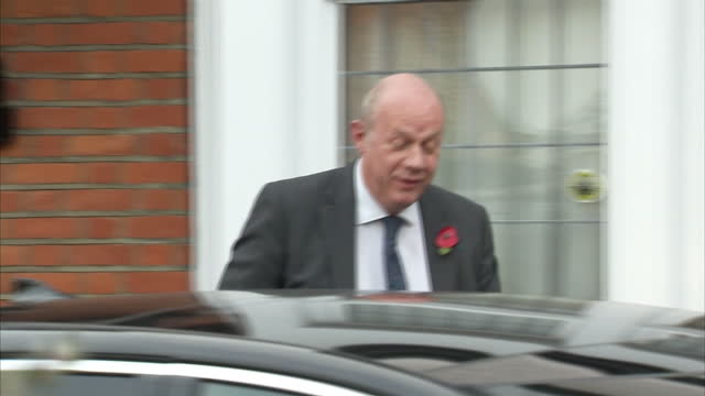 Exterior shots of Damian Green First Secretary of State departing from his home and responding briefly to journalists asking questions about...