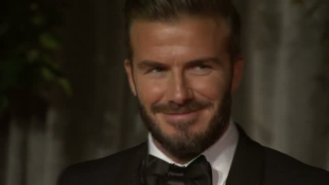 Exterior shots of David Beckham posing on the red carpet at the BAFTA awards after party at Grosvenor House on February 8 2015 in London England