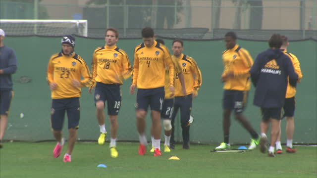 Exterior shots of David Beckham training with the rest of the LA Galaxy squad on November 30 2012 in Los Angeles California