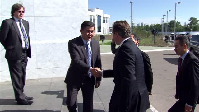 Exterior shots of David Cameron arriving at Nazarbayev University interior shots of David Cameron meeting students David Cameron Visit To Kazakhstan...