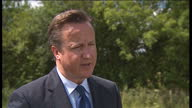Exterior shots of David Cameron being interviewed about Gibraltar's border contols and Foreign Ministers meeting in the future David Cameron talks...