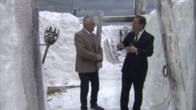 Exterior shots of David Cameron visiting the Game of Thrones set white trenches of The Wall on April 07 2015 in Belfast Northern Ireland