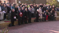 Exterior shots of Defence Secretary Michael Fallon MP laying a poppy wreath at an Armistice Day service of remembrance in Aylesford on November 11...