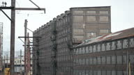 Exterior shots of derelect buildings and freight railway lines of the former Bethlehem Steelworks in Bethlehem Pennsylvania United States