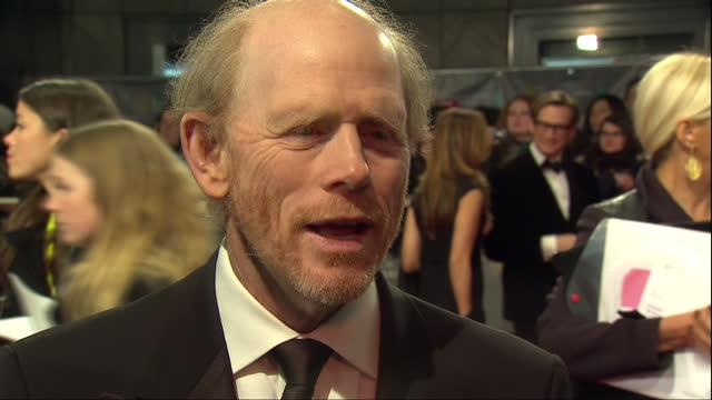 Exterior shots of director Ron Howard giving an interview on the red carpet on February 16 2014 in London England