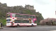 Exterior shots of Edinburgh City Centre streetscenes iconic landmarks including Edinburgh Castle Scott Monument the National Gallery Shot in Spring...