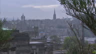 Exterior shots of Edinburgh skyline showing traffic and pedestrians on a overcast foggy day on September 18 2014 in Edinburgh Scotland