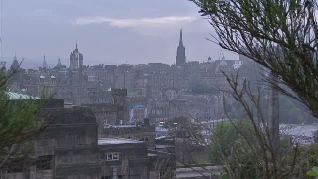 Exterior shots of Edinburgh skyline showing traffic and pedestrians on a overcast foggy day on September 18 2014 in Edinburgh Scotland