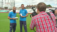 Exterior shots of England cricketers Stuart Broad and Moeen Ali posing for photographs and signing Sky Ocean Rescue refillable water bottles cricket...