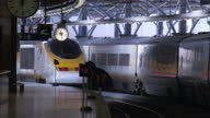 Exterior shots of Eurostar trains and passengers at Brussels Midi Station on March 04 2010 in Brussels Belgium