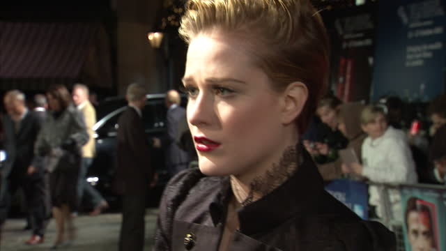 Exterior shots of Evan Rachel Wood at premiere of Ides of March being interviewed by media