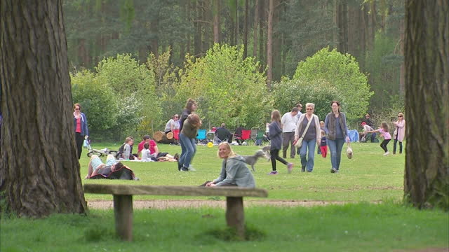 Exterior shots of families relaxing in the grounds of Sandringham House on May 4 2015 in Sandringham England