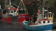 Exterior shots of fishing boats in North Shields harbour on 16 August 2017 in North Shields United Kingdom