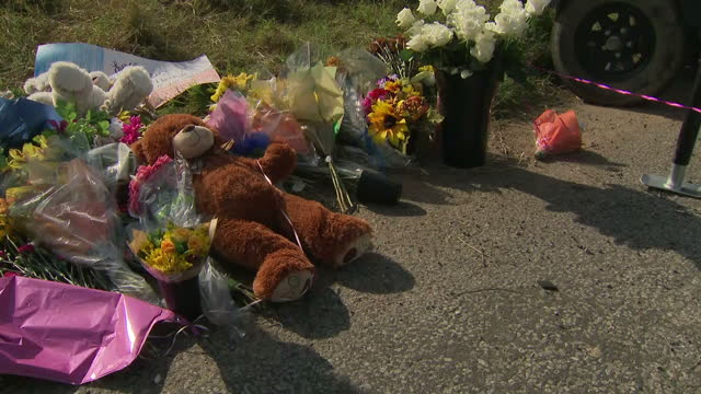 Exterior shots of flowers and other tributes laid near the scene of the mass shooting attack at the First Baptist Church in Sutherland Springs on...