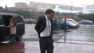 Exterior shots of footballer Adam Johnson arriving at Bradford Crown Court with his father Dave Johnson followed by his his partner Stacey Flounders...