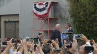 Exterior shots of former US president Bill Clinton being invited onto the podium during a Hillary Clinton campaign rally on 4 June 2016 in Los...
