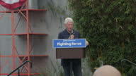 Exterior shots of former US president Bill Clinton speaking at a podium during a campaign event in support of Hillary Clinton on 4 June 2017 in Los...