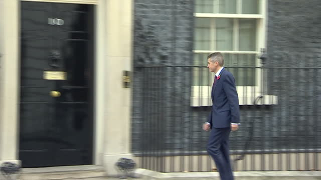 Exterior shots of Gavin Williamson arriving at Number 10 Downing Street as chief whip and departing after being newly appointed as Defence Secretary...