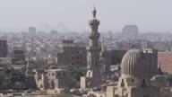 Exterior shots of Giza Pyramids through haze across town on November 11 2014 in Cairo Egypt