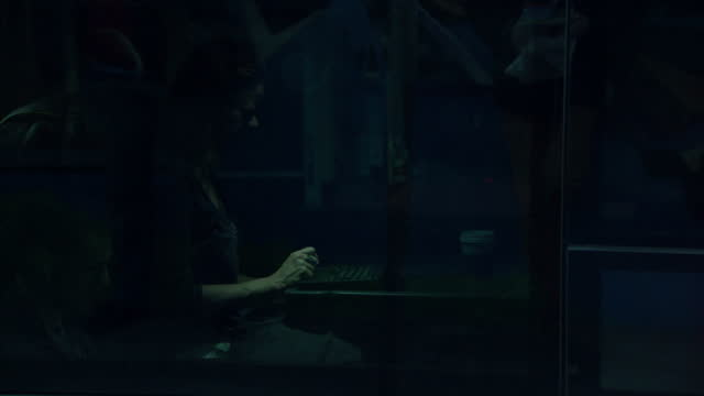 Exterior shots of Google employees boarding a Gbus staff bus from side of residential street bound for the company's headquarters on January 29 2014...