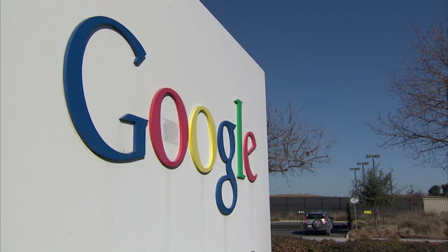 Exterior shots of Google's headquarters including signage on Charleston Road on January 29 2014 in San Francisco California