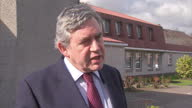 Exterior shots of Gordon Brown being interviewed about the Scottish referendum on March 10 2014 in Glasgow Scotland