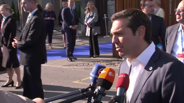 Exterior shots of Greek Prime Minister Alexis Tsipras speaking to the media at an EU summit on security on 29 September 2017 in Tallin Estonia