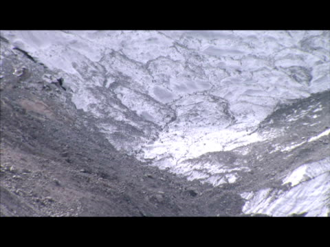 Exterior shots of Himalayan mountain range showing melted glaciers and lack of snow Exterior shots of mountain range showing effects of climate...