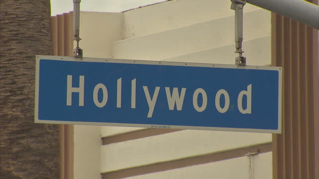 Exterior shots of Hollywood Boulevard including street signs signs for the Hollywood Museum and Hollywood Wax Museum and traffic at the Hollywood and...