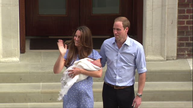 Exterior shots of HRH Prince William Catherine Duke Duchess of Cambridge making their first public appearance with their first new born child Prince...