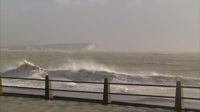 Exterior shots of huge waves crashing over the seafront in Newhaven as Storm Imogen brings high winds and torrential rain to the UK on February 08...