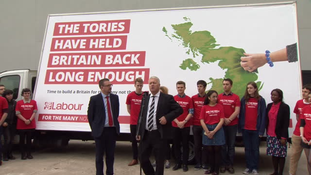 Exterior shots of Ian Lavery election coordinator for the Labour party making a speech during the launch of Labour's first election campaign poster...