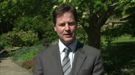 Exterior shots of interview with Nick Clegg Deputy Prime Minister commenting on the killing of Osama bin Laden by US Special Forces in Pakistan Nick...