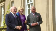 Exterior shots of Irish President Michael D Higgins and wife Sabina Coyne arriving at Dumfries House and greeted by Prince Charles and Camilla...