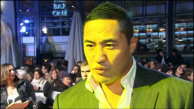 Exterior shots of Isaac Feau'nati Feaunati speaking on red carpet of Invictus film premiere about playing part of Jonah Lomu in the film at Leicester...