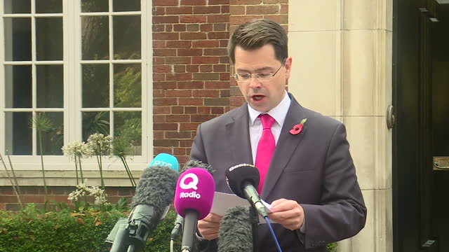 Exterior shots of James Brokenshire Secretary of State for Northern Ireland making a statement about the ongoing powersharing negotiations between...