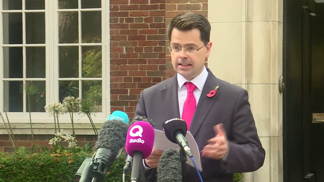 Exterior shots of James Brokenshire Secretary of State for Northern Ireland making a statement about the ongoing negotiations between the Democratic...