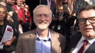 Exterior shots of Jeremy Corbyn and Tom Watson arriving at the Labour party conference with a soundbite of Jeremy Corbyn speaking about the...