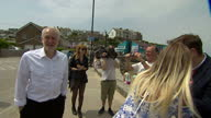 Exterior shots of Jeremy Corbyn Labour Leader talking to people and taking selfies as he campaigns for the Remain side in the EU referendum on June...