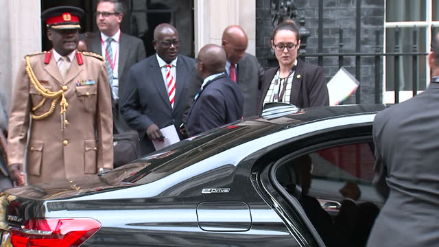 Exterior shots of Kenyan President Jomo Kenyatta departing from Number 10 Downing Street after a bilateral meeting with Theresa May on May 11 2017 in...