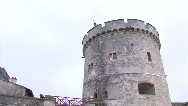 Exterior shots of La Rochelle street scenes including people walking past historic castle battlements and boats in the Vieux Port on 31 October 2017...