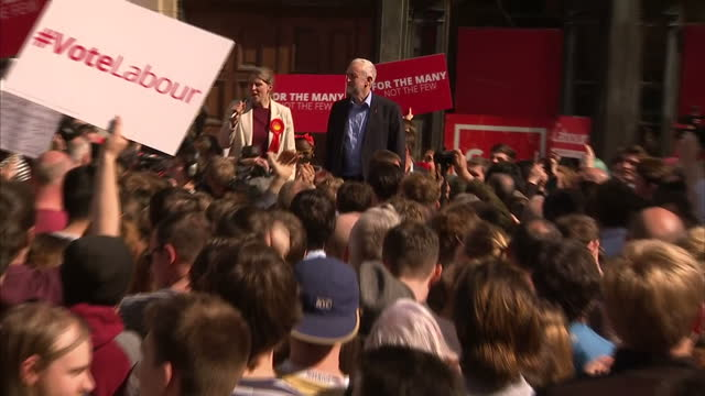 Exterior shots of Labour leader Jeremy Corbyn addressing crowds of supporters at a campaign rally on May 10 2017 in Leeds England